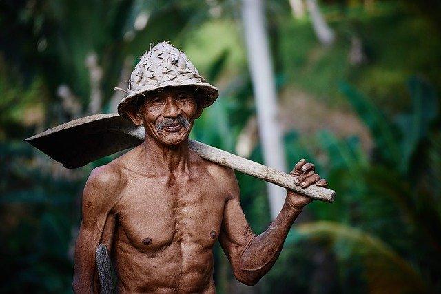 dělník v Asii