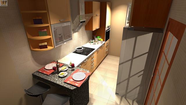kuchyně, nákres, pohled zvrchu
