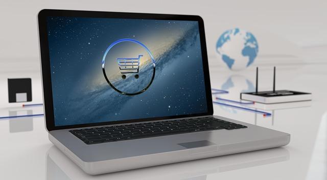 elektronický obchod na monitoru
