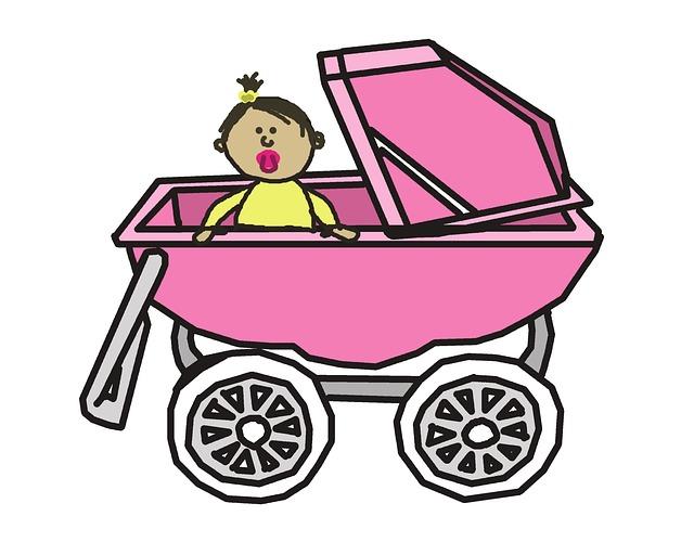 Barevná Ilustrace-postavička dítěte v kočárku