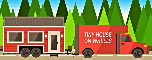 ilustrace mobilního domu při přepravě